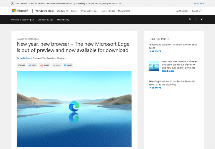 La nouvelle version du navigateur Edge est disponible au téléchargement