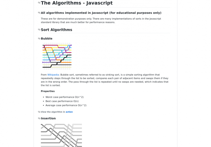Une collection d'algorithmes implémentés en Javascript
