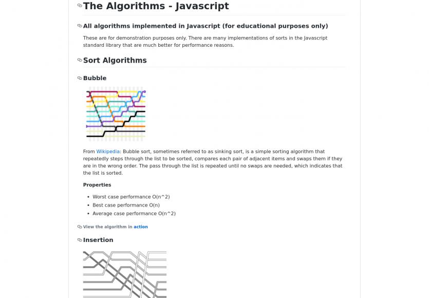 Une collection d'algorithmes implémentés en Javascript