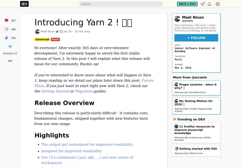 Yarn 2 est désormais disponible après un an de développement