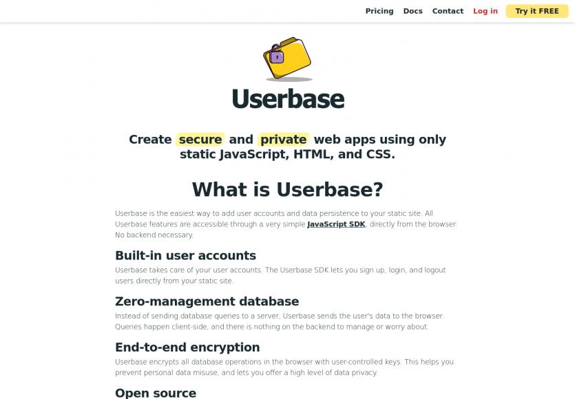Userbase : ajoutez un système de gestion d utilisateurs sur vos apps Javascript statiques