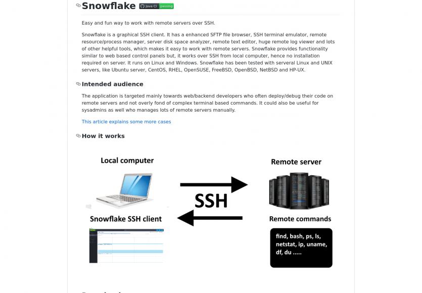 Snowflake: un client SFTP graphique et émulateur de terminal avec de nombreux outils pratiques
