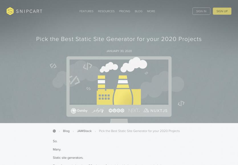Quel générateur de site statique choisir en 2020 ?