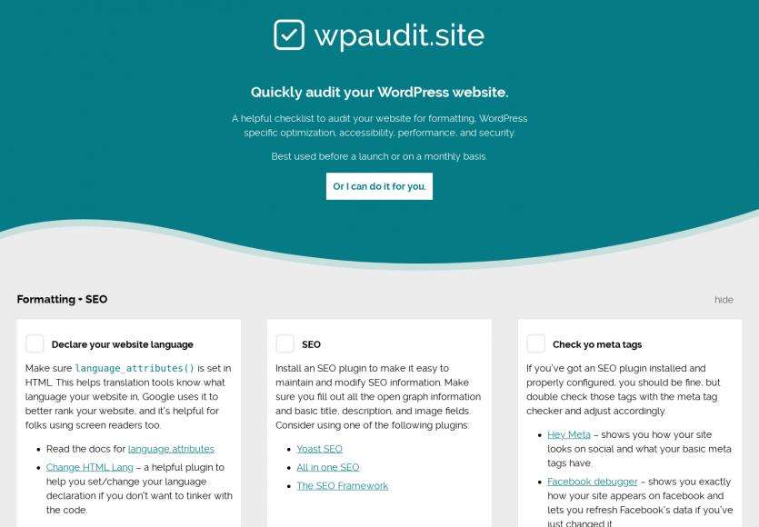 WPAudit : une checklist en ligne pour auditer votre WordPress