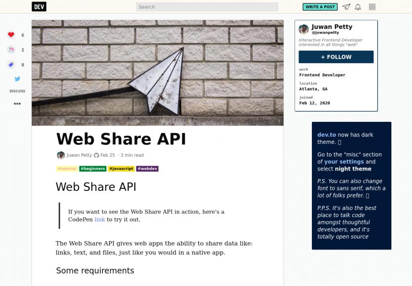 Utiliser la Web Share API dans vos pages web