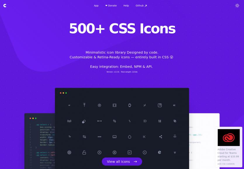 CSS gg : plus de 500 icônes CSS personnalisables et compatibles retina