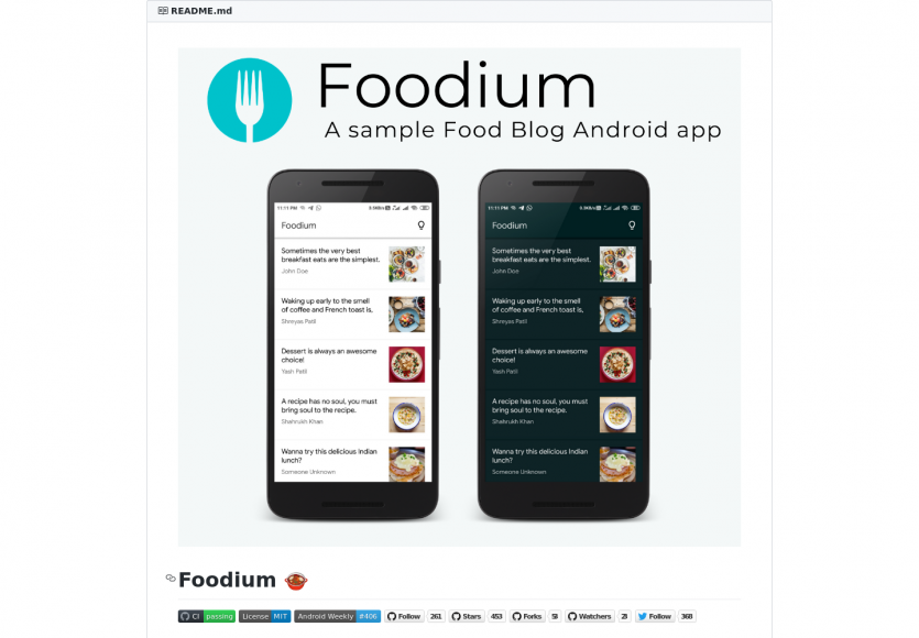 Foodium : le code source d'une app Android native qui utilise des technos modernes