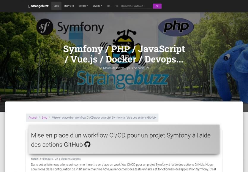 Un workflow CI/CD pour vos projets Symfony à partir des actions Github
