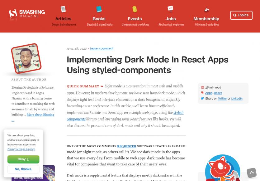Mettre en place des composants React en Dark mode