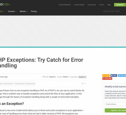 Débuter avec les exceptions en PHP