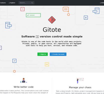 Gitote: Une nouvelle plateforme de versionning basée sur GIT en alternative à Gitlab ou Github