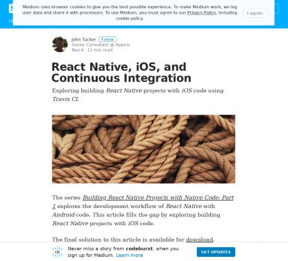 Intégration continue d'application iOS développée en React Native