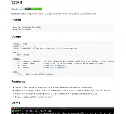 tztail - un outil en ligne de commande pour afficher vos logs dans la timezone souhaitée