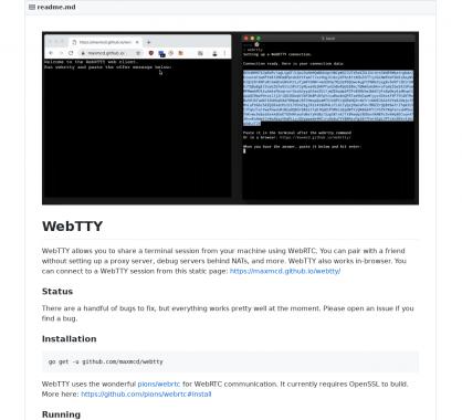 WebTTY : partagez une session de terminal en temps réel avec du WebRTC