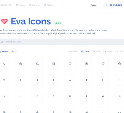 Eva Icons : un pack de plus de 480 icônes open source pour vos projets