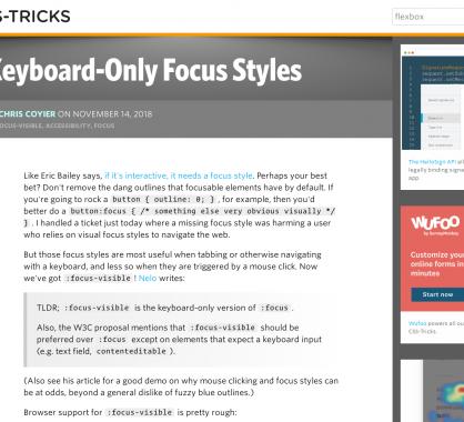 Styler les éléments focus au clavier uniquement avec :focus-visible