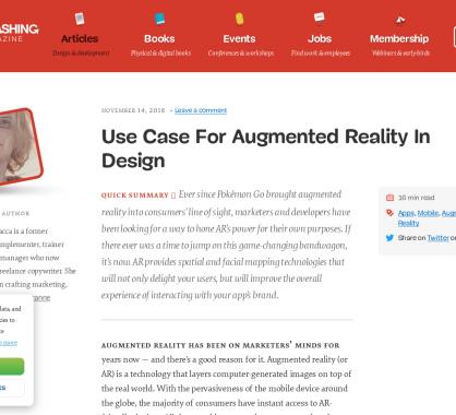 Différents use case sur l'utilisation de réalité augmentée dans le design