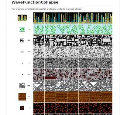 WaveFunctionCollapse: Un générateur de bitmap similaire au pattern du bitmap en entrée