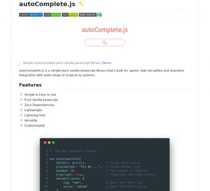 Autocomplete.js - Un système d'autocomplétion en VanillaJs sans dépendance pour apps web