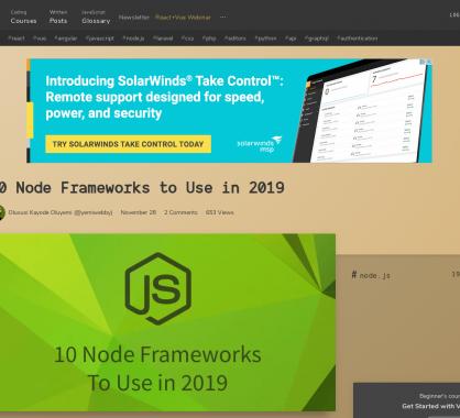 10 frameworks Node.js utilisables en 2019 comparés dans un article