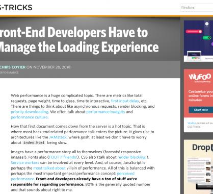 Les frontends dev doivent gérer l'expérience de chargement des sites web