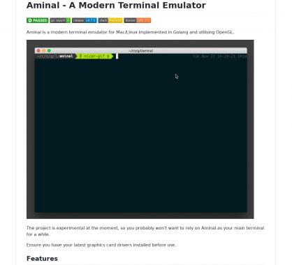 Aminal: un terminal moderne pour Mac et Linux, développé en Go et utilisant du WebGL