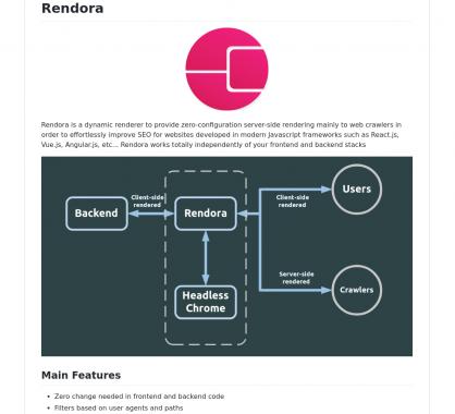 Rendora: un outil pour faire du serverrendering facilement sur des apps JS modernes pour le SEO