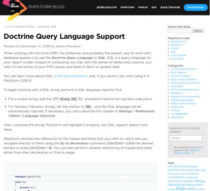 Le support du DQL (Doctrine Query Language) dans phpStorm