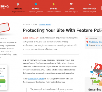 Protégez votre site web à l'aide des Feature Policies