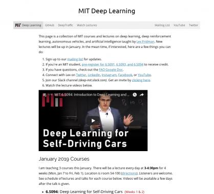 Les cours sur le Deep Learning par le MIT disponibles en ligne