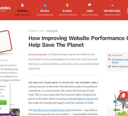 Comment améliorer les performances d'un site web peut sauver la planète