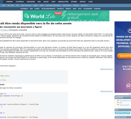 PHP 7.4 : les nouveautés probables de la version prévue pour fin d'année 2019