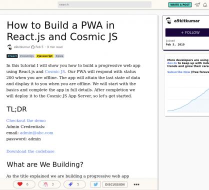 Créer une PWA avec React.js et Cosmic.js