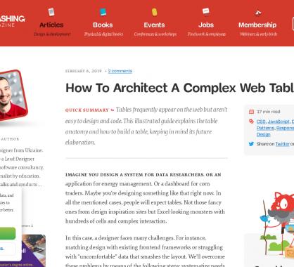 Comment architecturer et designer des tableaux de données complexes pour le web