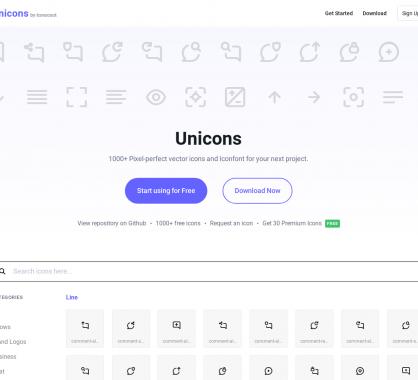 Unicons : 1000 icônes gratuites à utiliser en webfont