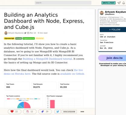 Développer un dashboard d'Analytics avec Node, Express et Cube.js