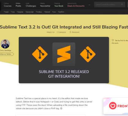 Sublime Text sort sa version 3.2 avec l'intégration de GIT