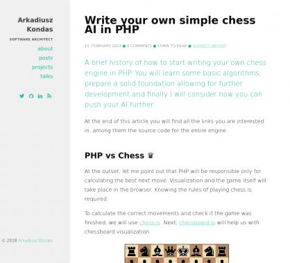 Développez une IA de jeu d'échec en PHP