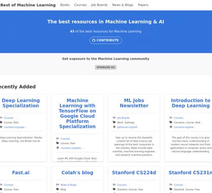 Une collection de ressources dédiées au Machine Learning