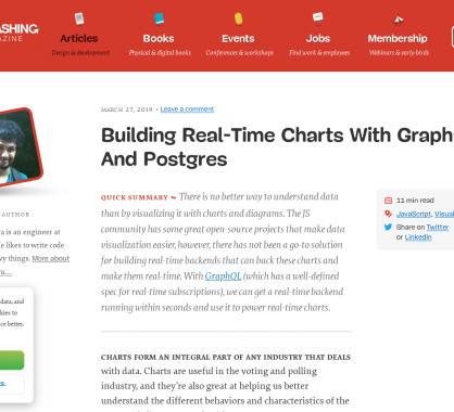 Créer des graphes temps réel basés sur GraphQL, PostgreSQL et ChartJs