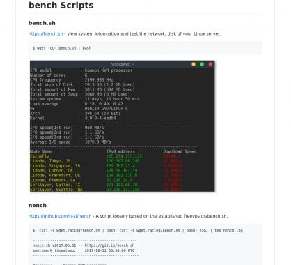Une collection de script de benchmark de serveurs Linux