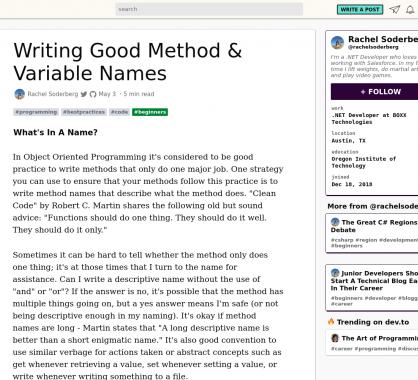Ecrire de bons noms de méthodes et variables