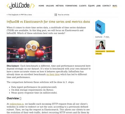 Benchmark de InfluxDB vs Elasticsearch pour la manipulation de Time series