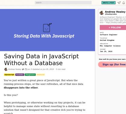 Sauvegarder des données en Javascript sans base de données
