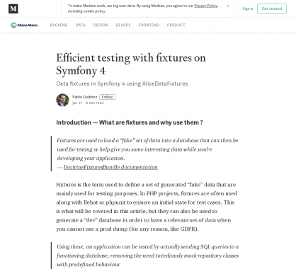 Créer des tests avec fixtures efficaces sur Symfony 4