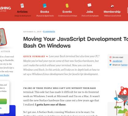 Développer vos apps Javascript sur ... le bash Windows