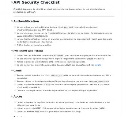 Une checklist de sécurité à suivre pour vos API