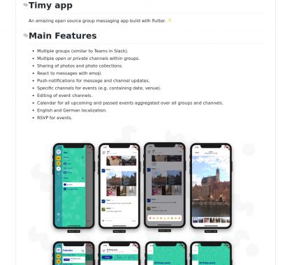 Timy app : une application de messagerie de groupe opensource développée en NodeJs et Flutter