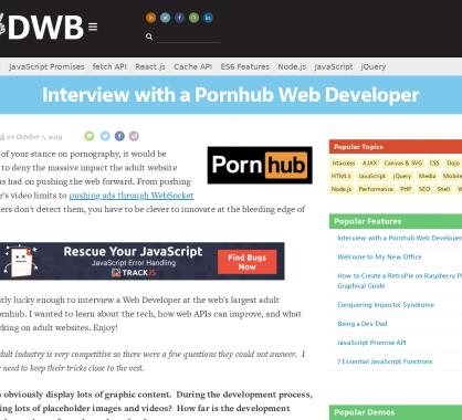 Interview d'un développeur web chez Pornhub