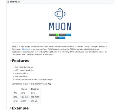 Muon : une alternative à Electron plus performante basée sur le moteur Webkit UltraLight